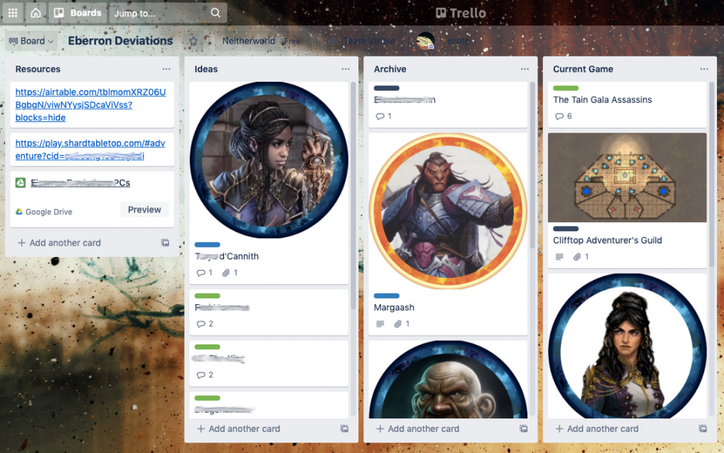 Screenshot of my campaign organization setup in Trello, showing cards and columns